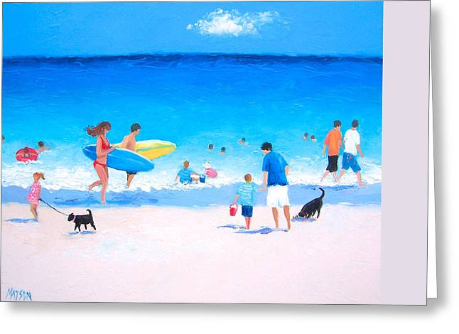 Seagull On Beach Greeting Cards - Beach Vacation Greeting Card by Jan Matson