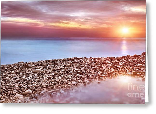 Panoramic Ocean Greeting Cards - Beautiful beach landscape Greeting Card by Anna Omelchenko