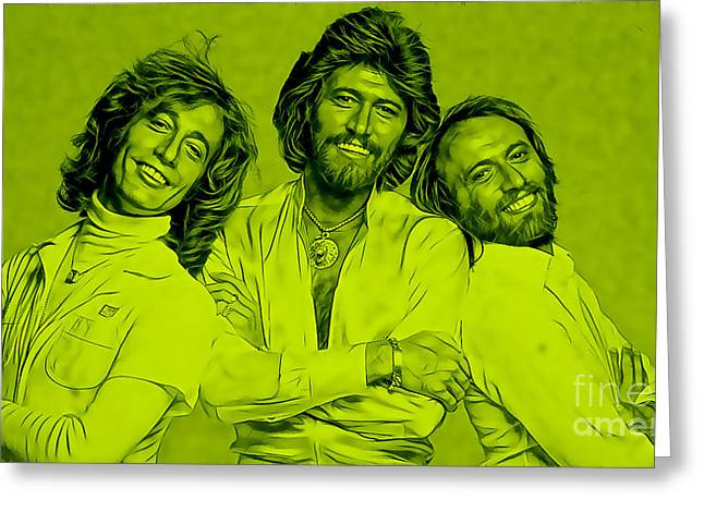 Band Greeting Cards - Bee Gees Collection Greeting Card by Marvin Blaine