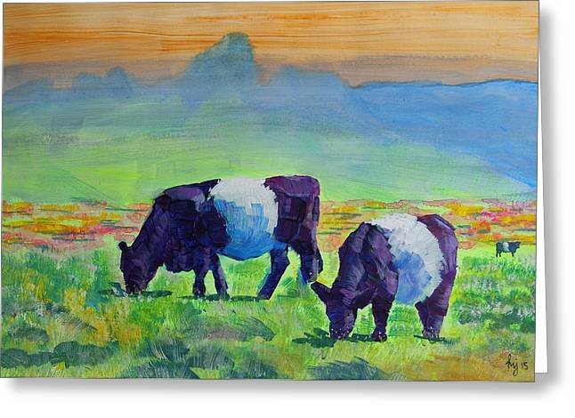 Belted Galloway Cows Greeting Card by Mike Jory
