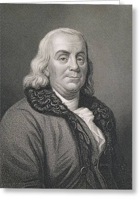 Benjamin Franklin Greeting Card by Joseph Siffred Duplessis