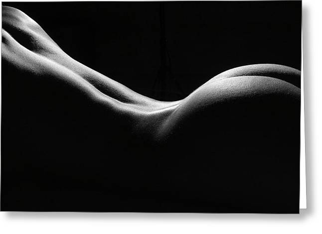 Black and White Nude Greeting Card by David Quinn