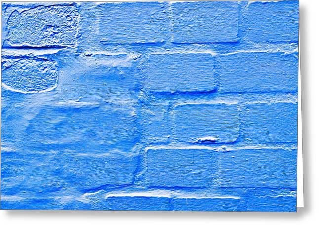 Aging Greeting Cards - Blue brick wall Greeting Card by Tom Gowanlock