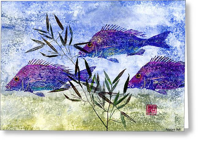 Gyotaku Greeting Cards - 3 Blue Fish Greeting Card by Brenda Alcorn