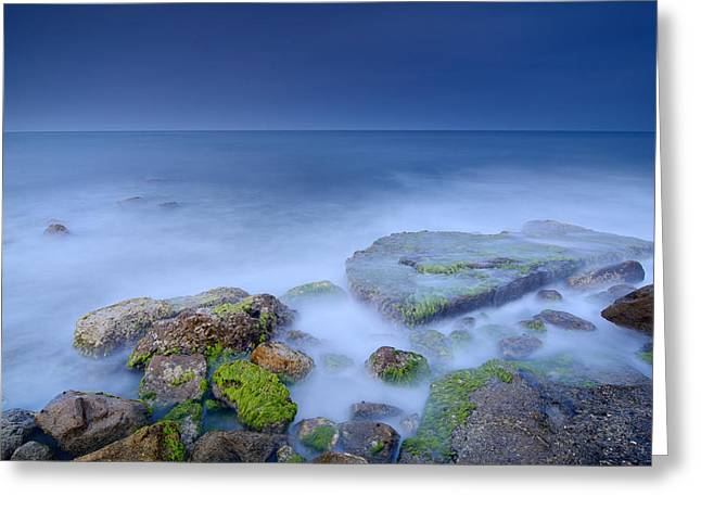 Beach Photography Greeting Cards - Blue sunset Greeting Card by Guido Montanes Castillo