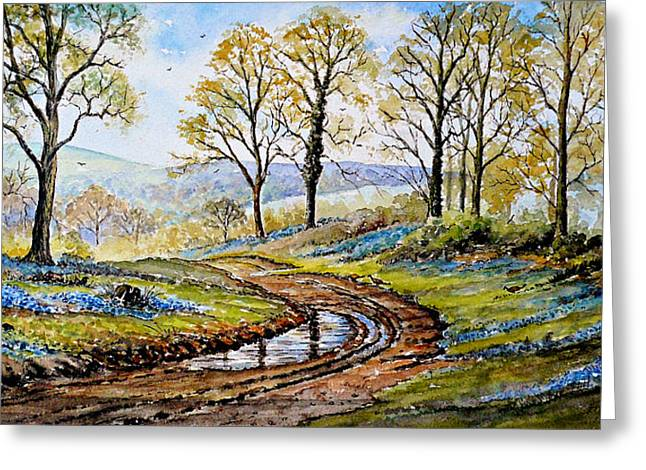 Bluebells In The New Forest Greeting Card by Andrew Read