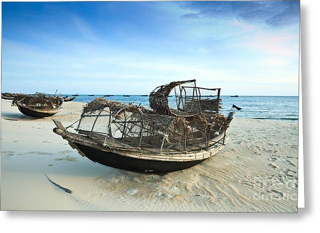 Vietnamese Greeting Cards - Boats Greeting Card by MotHaiBaPhoto Prints