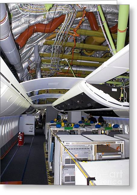747 Greeting Cards - Boeing 747-8 Interior Greeting Card by Mark Williamson