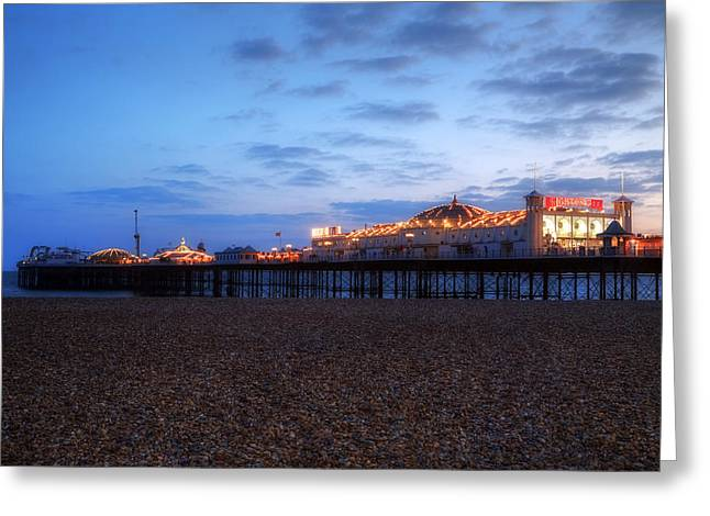 Palace Amusements Greeting Cards - Brighton at night Greeting Card by Joana Kruse