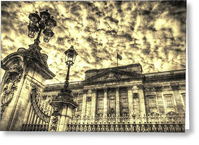 Family Buckingham Palace Greeting Cards - Buckingham Palace Vintage Greeting Card by David Pyatt