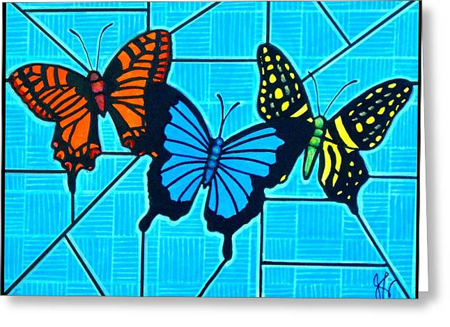 3  Butterflies On Blue Greeting Card by Jim Harris