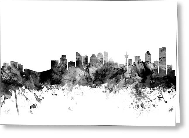 Alberta Greeting Cards - Calgary Canada Skyline Greeting Card by Michael Tompsett
