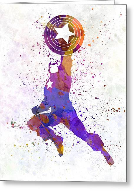 Captain America Paintings Greeting Cards - Captain America in watercolor Greeting Card by Pablo Romero