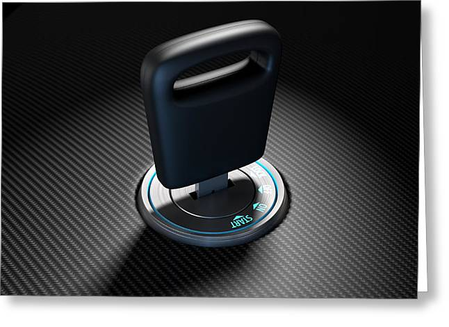 Insert Greeting Cards - Car Key In Ignition Greeting Card by Allan Swart