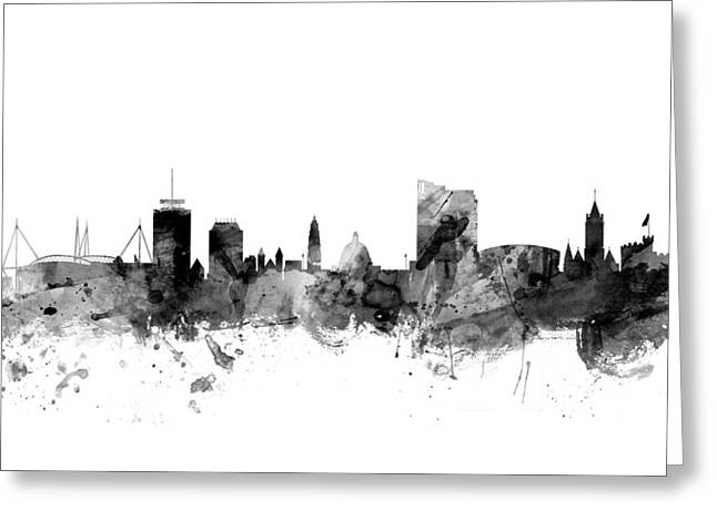 Wales Digital Greeting Cards - Cardiff Wales Skyline Greeting Card by Michael Tompsett