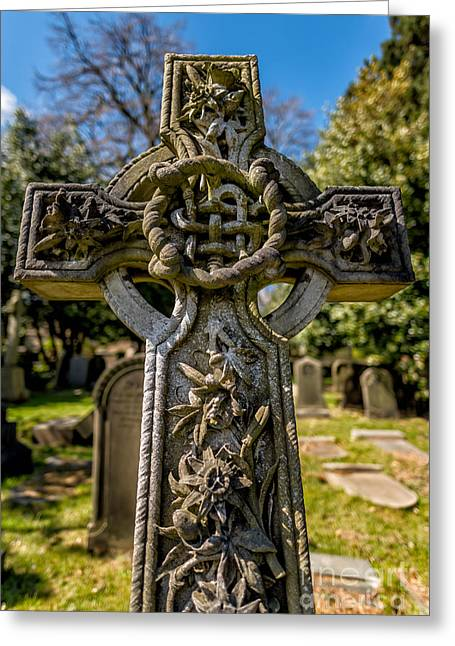 Burial Greeting Cards - Celtic Cross Greeting Card by Adrian Evans