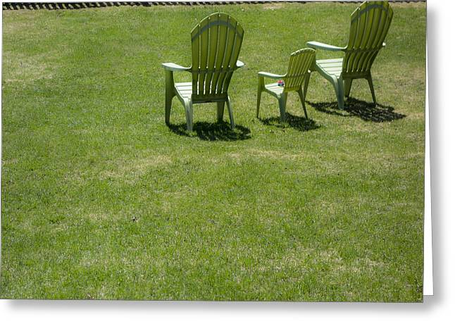 Lawn Chair Greeting Cards - 3 Chairs and fence Greeting Card by David Stone
