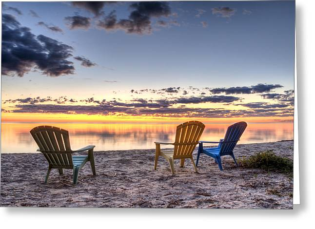 Smooth Greeting Cards - 3 Chairs Sunrise Greeting Card by Scott Norris