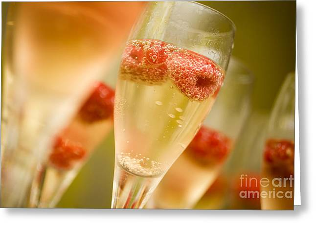 Wine Pouring Greeting Cards - Champagne Greeting Card by Kati Molin