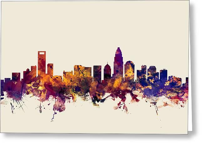 Charlotte Greeting Cards - Charlotte North Carolina Skyline Greeting Card by Michael Tompsett