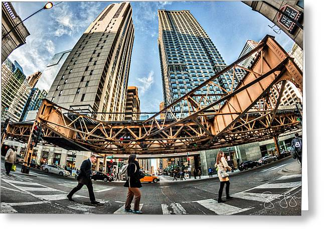 Crosswalk Greeting Cards - Chicago Crosswalk Greeting Card by Sam Logan