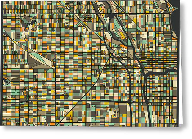 Chicago Art Greeting Cards - Chicago Map Greeting Card by Jazzberry Blue