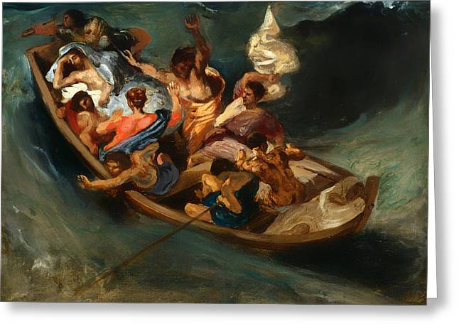 Sea Of Storms Greeting Cards - Christ on the Sea of Galilee Greeting Card by Eugene Delacroix