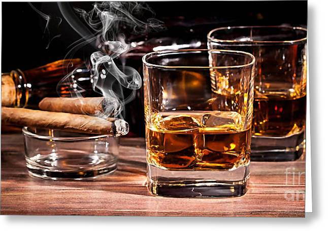 Cigar And Alcohol Collection Greeting Card by Marvin Blaine