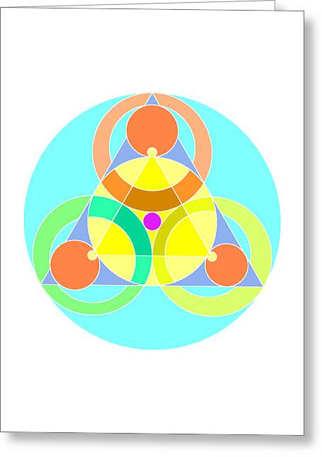 Coloured Greeting Cards - 3 Circles Greeting Card by Francisco Rodriguez