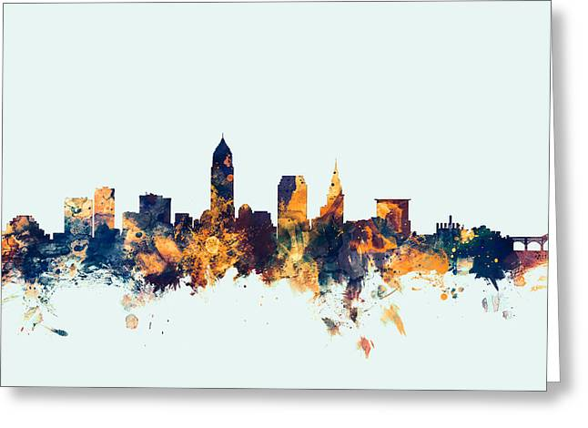 Cityscape Digital Greeting Cards - Cleveland Ohio Skyline Greeting Card by Michael Tompsett