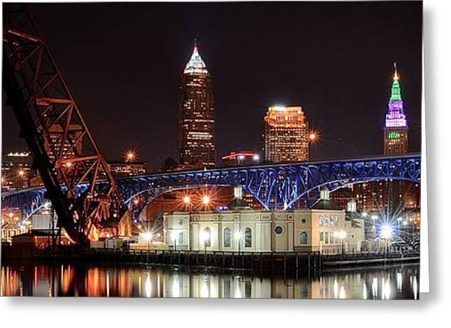 Fame Greeting Cards - Cleveland over the Cuyahoga Greeting Card by Frozen in Time Fine Art Photography
