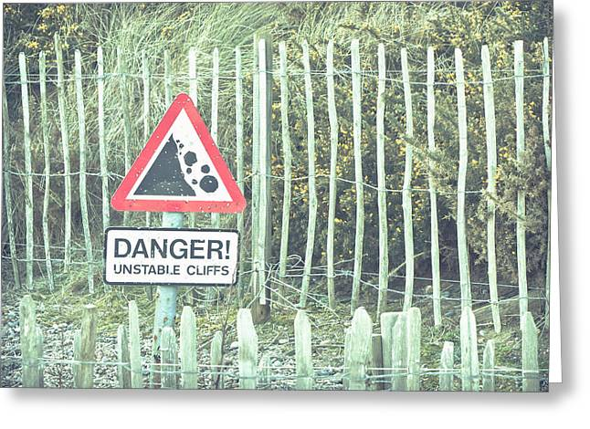 Sand Pattern Greeting Cards - Cliff warning Greeting Card by Tom Gowanlock