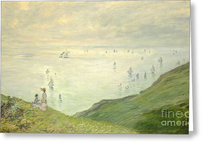 Pourville Greeting Cards - Cliffs at Pourville Greeting Card by Claude Monet