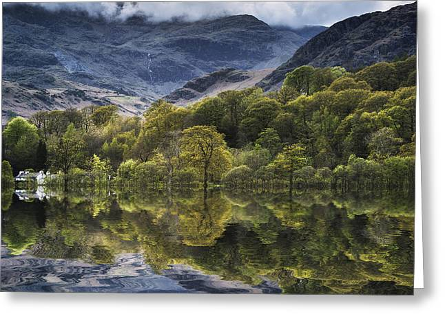 Cloud Inversion Greeting Cards - Cloud inversion landscape Old Man of Coniston with forest in for Greeting Card by Matthew Gibson
