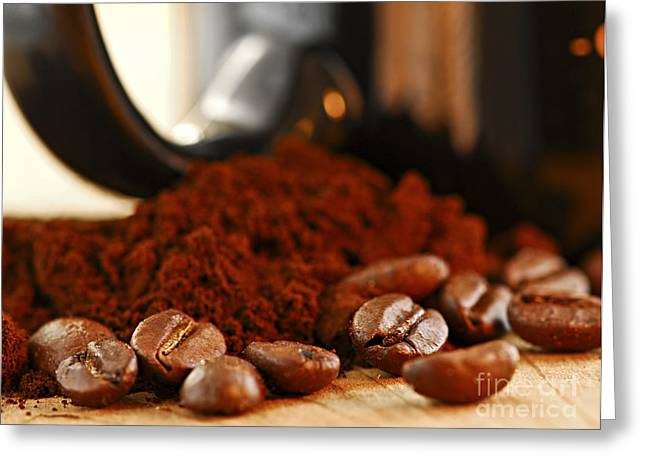Hot Shop Greeting Cards - Coffee beans and ground coffee Greeting Card by Elena Elisseeva