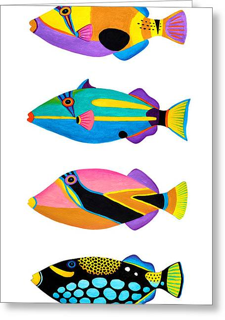 Triggerfish Paintings Greeting Cards - Collection of trigger fishes Greeting Card by Opas Chotiphantawanon