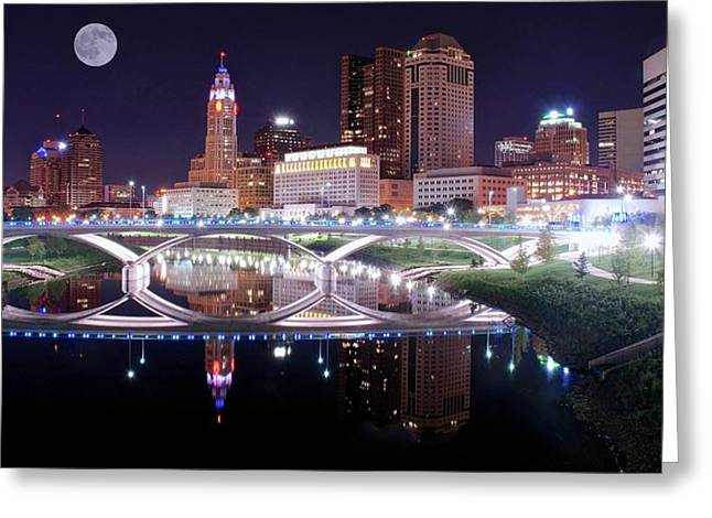 Columbus Ohio Full Moon Pano Greeting Card by Frozen in Time Fine Art Photography
