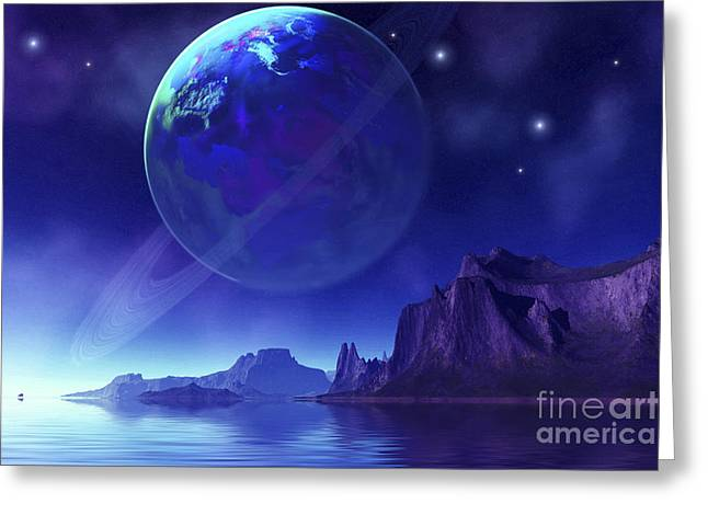 Ring Systems Greeting Cards - Cosmic Seascape On Another World Greeting Card by Corey Ford