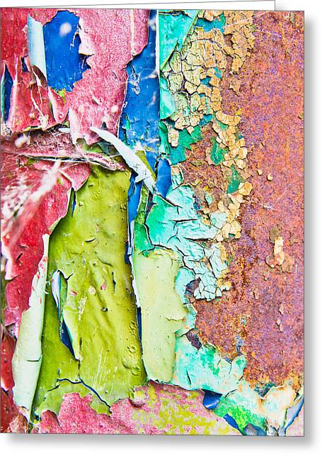 Cracked Paint Greeting Card by Tom Gowanlock
