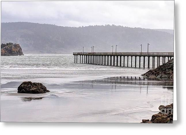 Panoramic Ocean Greeting Cards - Crescent City Pier Greeting Card by   FLJohnson Photography