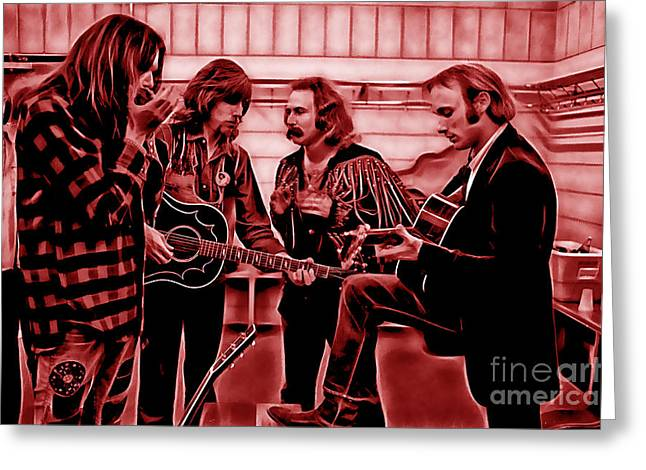 Crosby Stills Nash And Young Greeting Card by Marvin Blaine