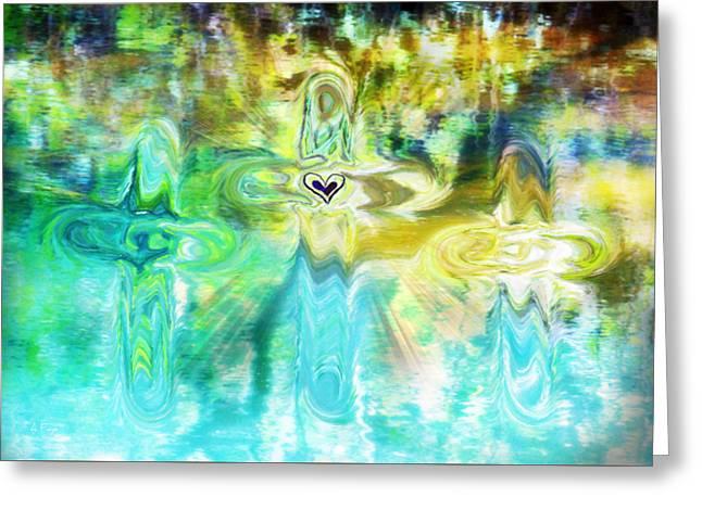 Born Again Digital Greeting Cards - 3 Crosses Greeting Card by Anita Faye