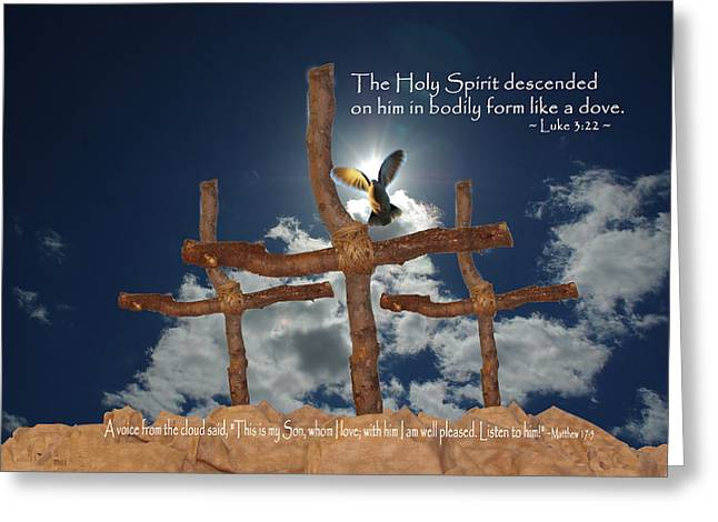 Descent Of Holy Spirit Greeting Cards - 3 Crosses Descent of Holy Spirit Greeting Card by Robyn Stacey