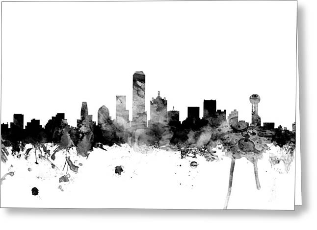 Dallas Greeting Cards - Dallas Texas Skyline Greeting Card by Michael Tompsett