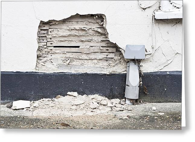 Lining Greeting Cards - Damaged wall Greeting Card by Tom Gowanlock
