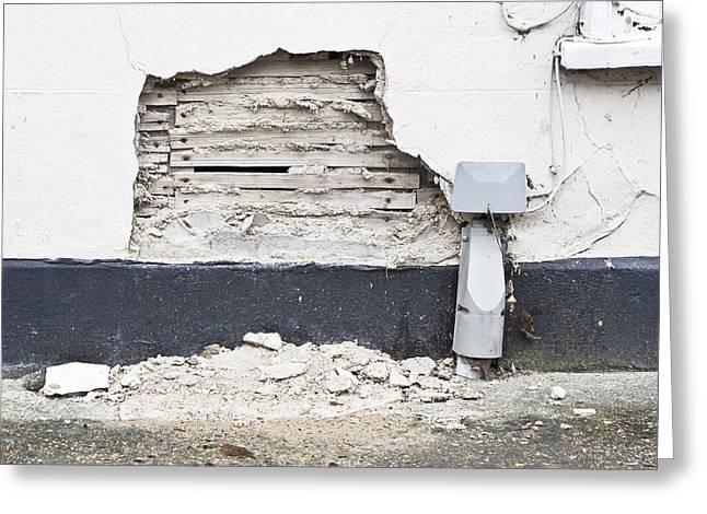 Powder Greeting Cards - Damaged wall Greeting Card by Tom Gowanlock