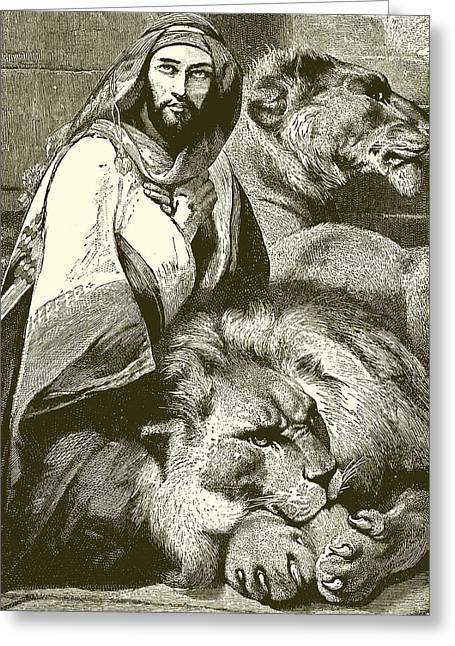 Religious Drawings Greeting Cards - Daniel in the Lions Den Greeting Card by English School