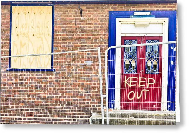 Building Feature Photographs Greeting Cards - Demolition site Greeting Card by Tom Gowanlock