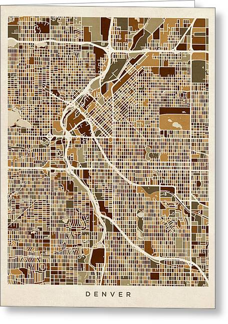Streets Greeting Cards - Denver Colorado Street Map Greeting Card by Michael Tompsett