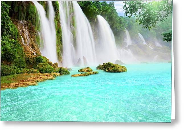 Green Leafs Greeting Cards - Detian waterfall Greeting Card by MotHaiBaPhoto Prints